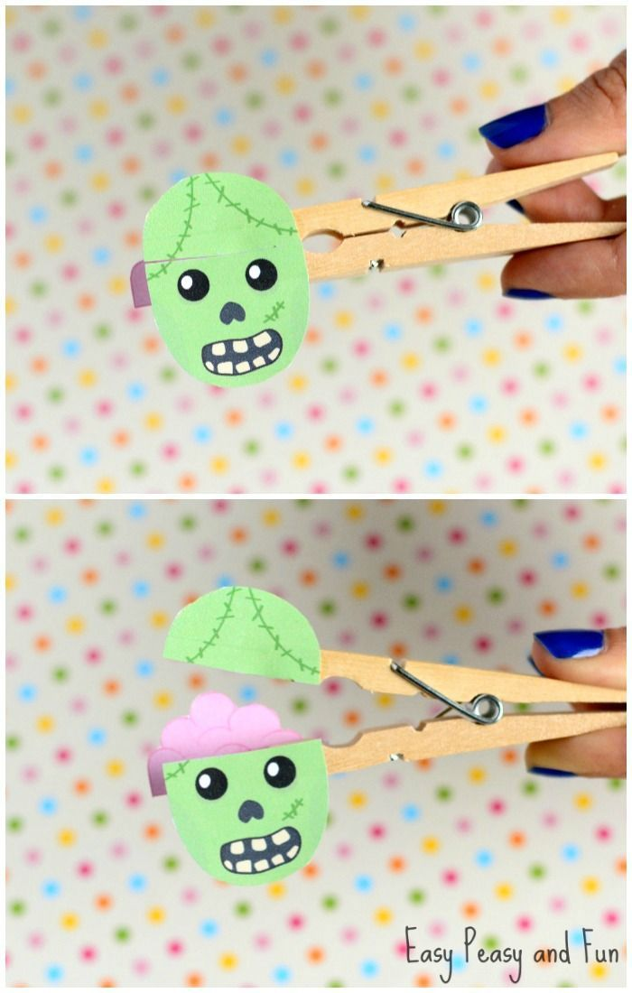 Clothespin Zombie Puppet Craft Halloween Crafts For Kids Paper