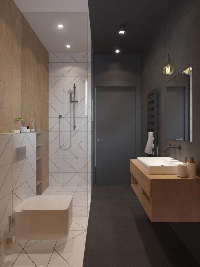 idée meuble petite salle de bain à design moderne avec mur en gris