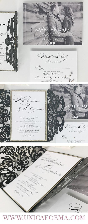 classic black tie wedding invitations, custom wedding invitations ...