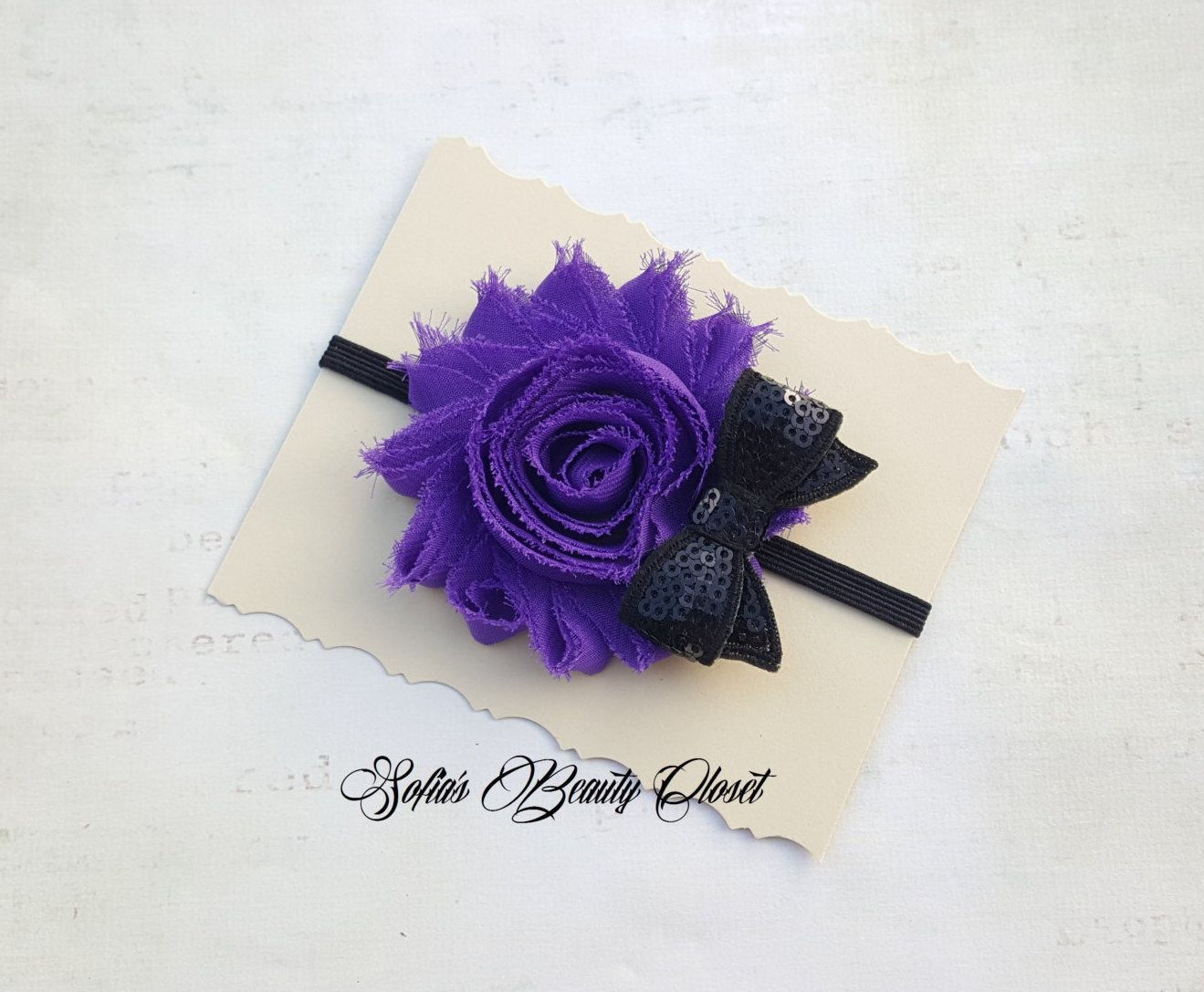 Purple Black Headband Purple Flower Headband Fall Headband