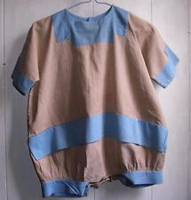 Antique Early 1900 's Primitive Cotton Blue & Tan Chambray Childs Romper Cute !!
