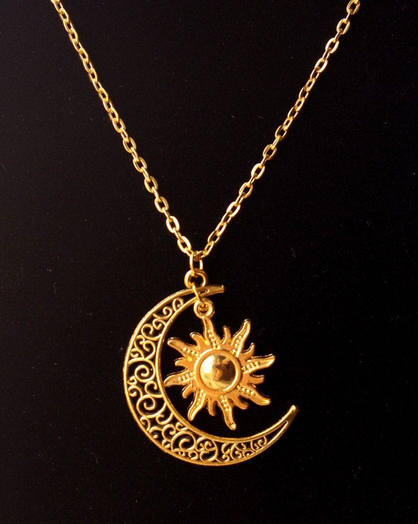 Collier couleur or avec pendentif croissant de lune et soleil vintage gothique occulte - Dessin de lune et soleil ...