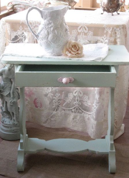Shabby Chic Table Vintage Mint Green chippy paint by Fannypippin ...