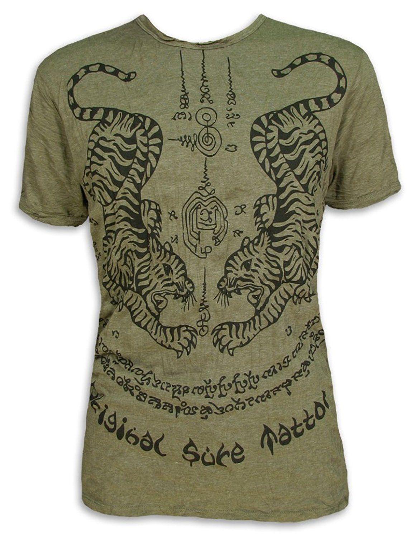 SURE Herren T-Shirt Magie Tiger Bambus-Tattoo Größe M L XL Muay Thai Tempel