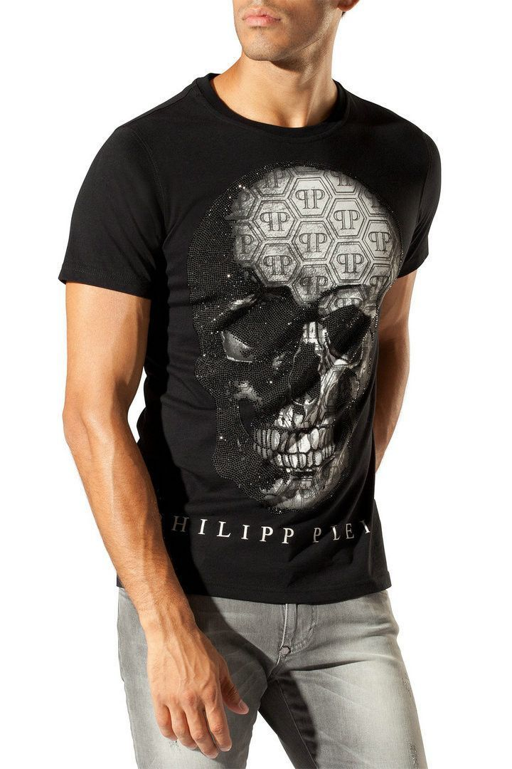 Popular mens T-shirt hot drill back print skull design men's fashion short sleeves