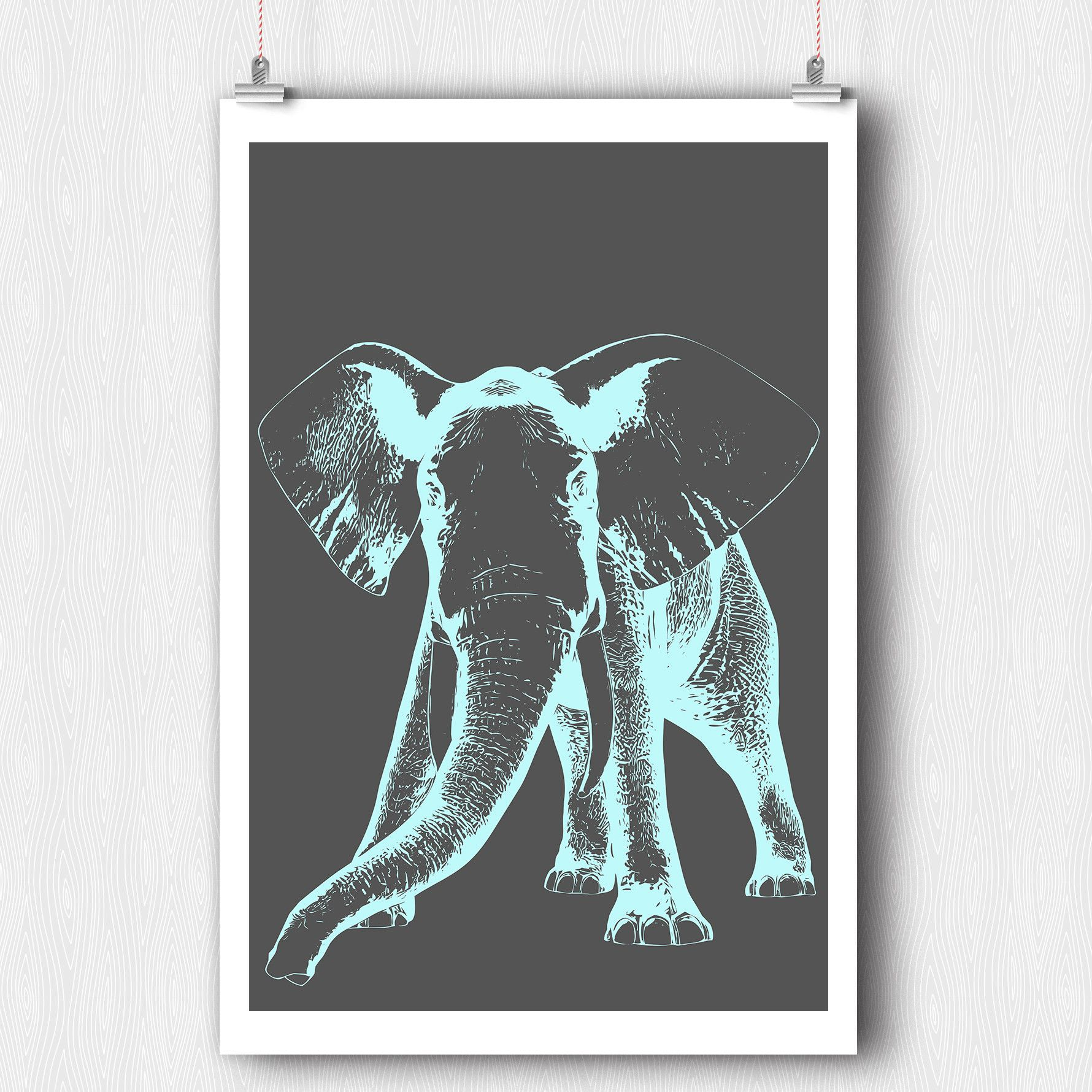 pastel blue elephant etched wall art poster 20 x 30 creative