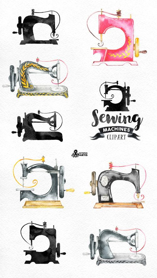 Sewing Machines Watercolor Clipart 9 Hand Painted Images Black
