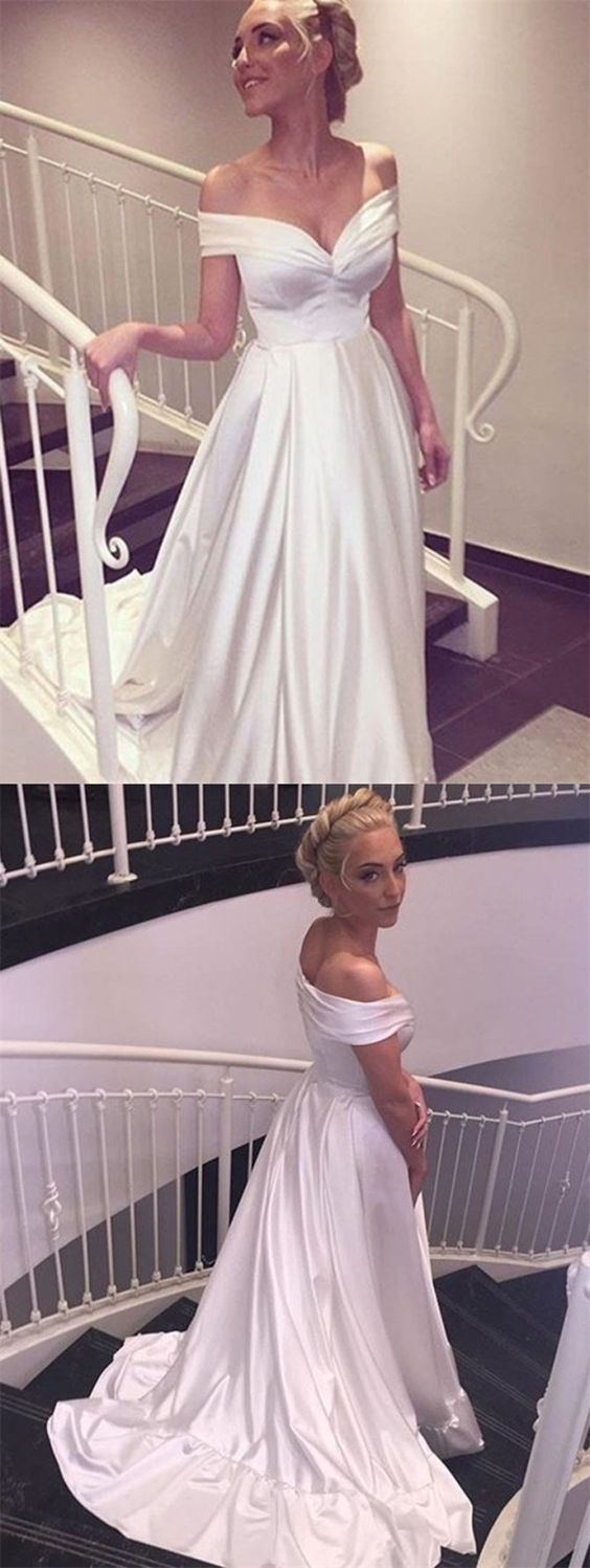 Aline offtheshoulder simple white long wedding dress with train