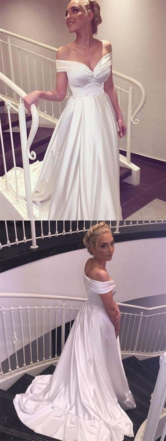 Simple off white wedding dresses  Aline Offtheshoulder Simple White Long Wedding Dress with Train