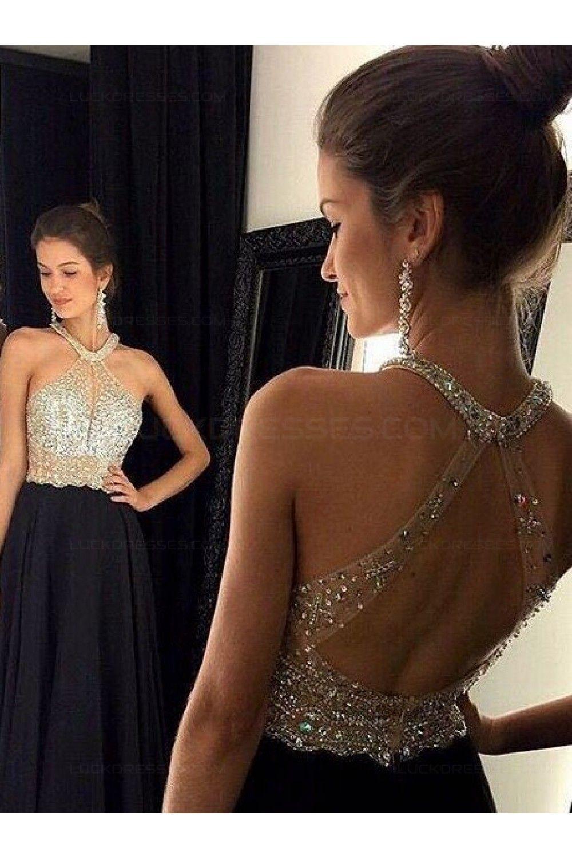 Beaded long black prom evening formal dresses dresses
