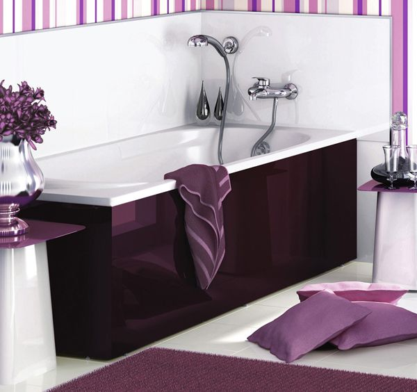 Dark purple white bathroom interior delpha evolution 2 for Bathroom decor purple