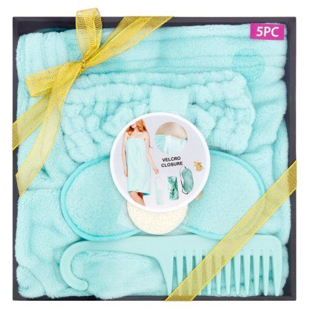 Essential Designs Bath Robe Spa Gift Set Teal 5 Pcs Blue Products
