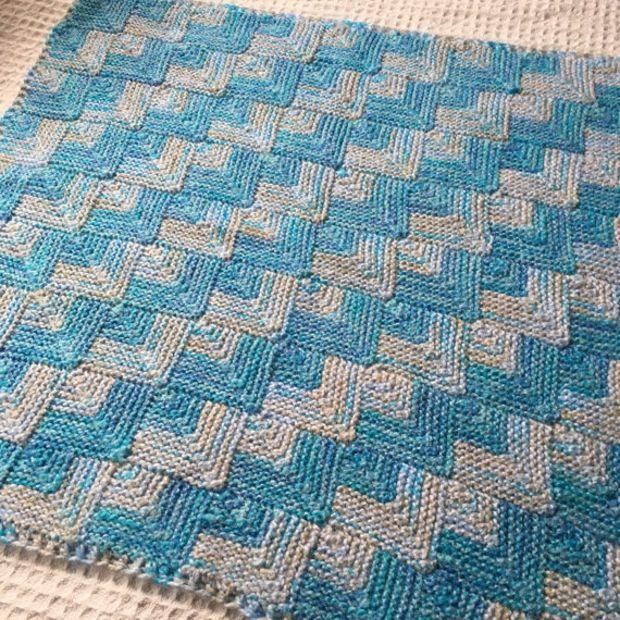 Newborn Baby Boy Blanket Knit Blue and White Baby Blanket mitered squares hand made blanket #babyboyblankets