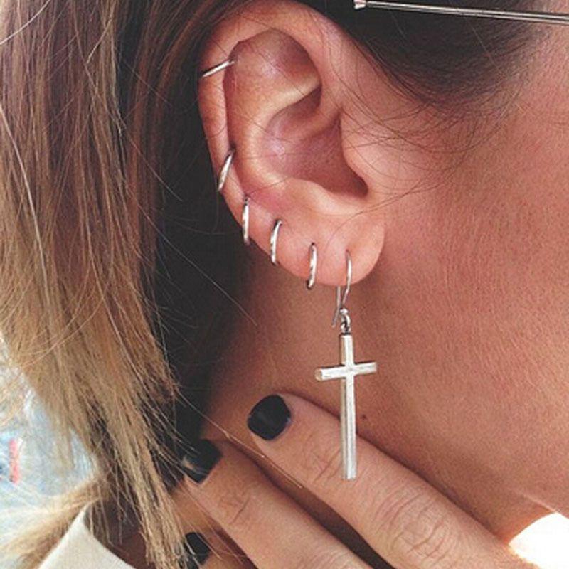 Women Earrings Gold Cross Stud Earrings Unisex Fashion Diamante Rhinestone Geralin Gioielli s Vintage