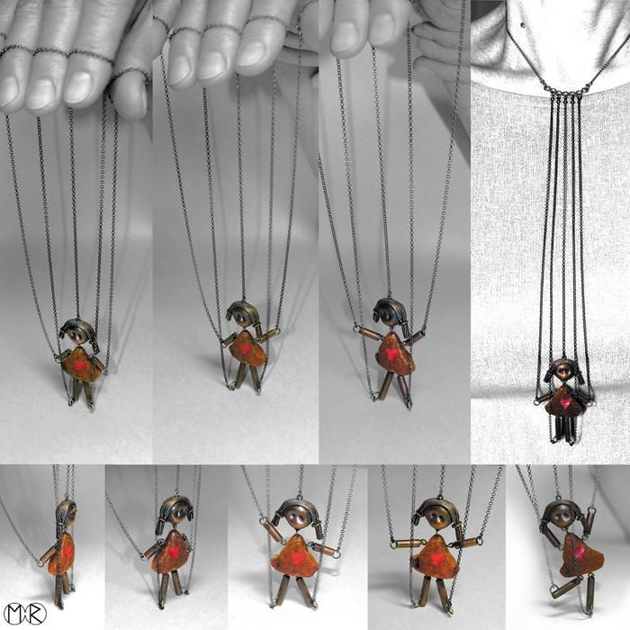 Marta Rudnicka - Lola necklace, 2011 - puppet/marionette - amber, silver, copper, paint.