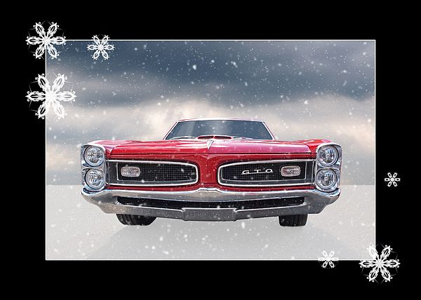 This 1966 Pontiac Gto With Snowflakes Makes A Great Greetings Card