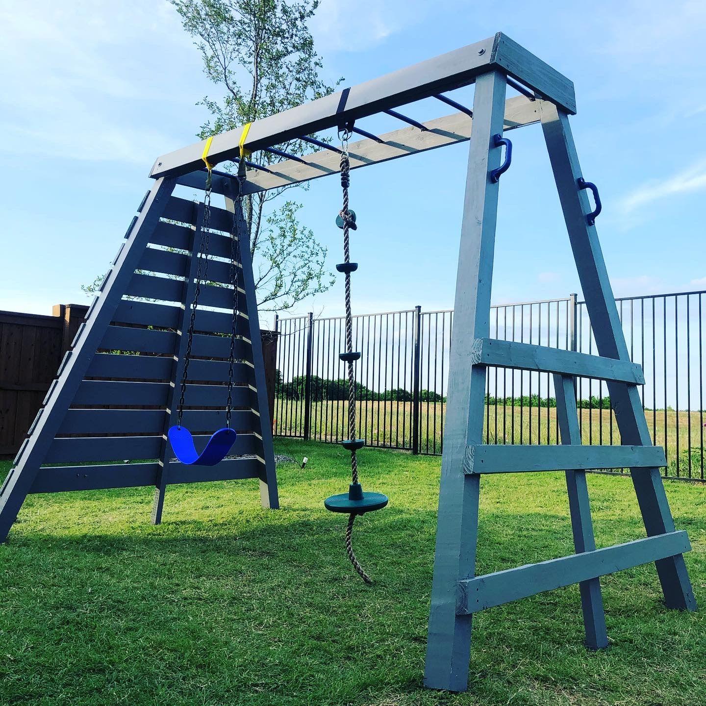 Diy playset in 2020 swing set diy backyard swing sets