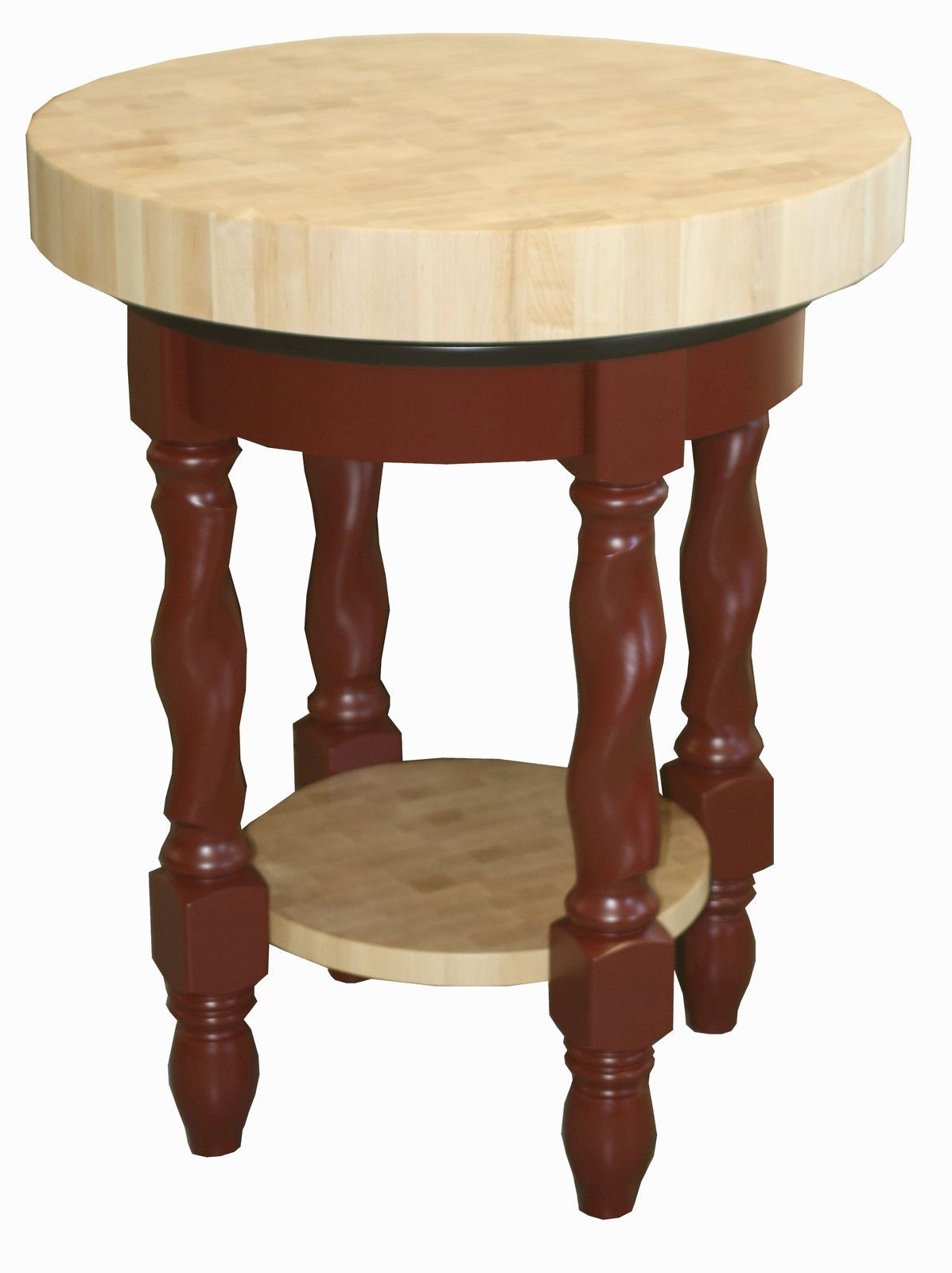 Amish butcher block kitchen island solid wood round snack bar table