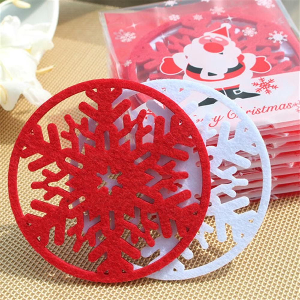 Merry Christmas 10pcs Lot Snowflakes Cup Mat Christmas Decorations