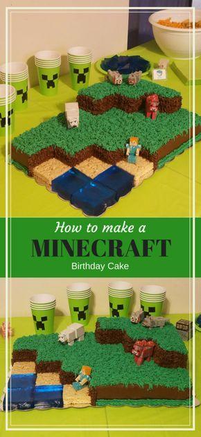 How to Make and Decorate a Minecraft Landscape Birthday Cake #minecraft #cakedecorating - DustinNikki Mommy of Three