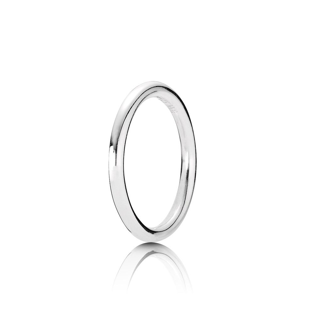 18ece3bce ... Embrace minimalist elegance with this stunning simple silver band PANDORA  ring. ...