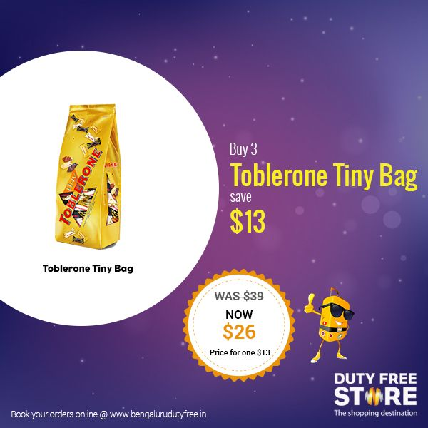 Bite-sized bursts of deliciousness by Toblerone, available at Bengaluru Duty Free. Visit www.bengalurudutyfree.in