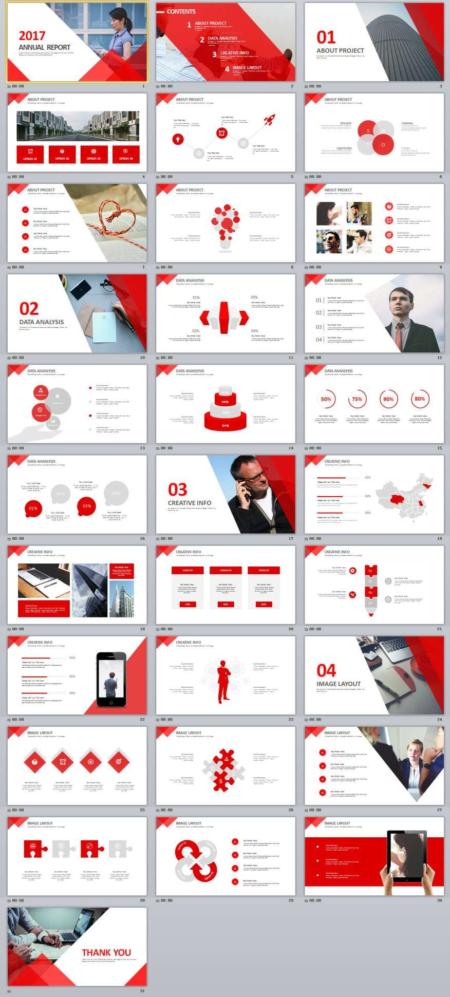 30 red annual powerpoint template powerpoint templates