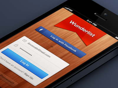 Wunderlist 2 - Login Screen | UI Design | Ui design, Mobile