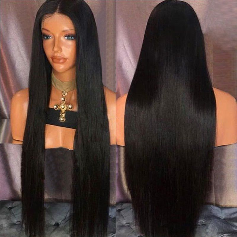 Ultra Long Straight Middle Part Synthetic Wig Front Lace Wigs Human Hair Synthetic Wigs Long Hair Styles