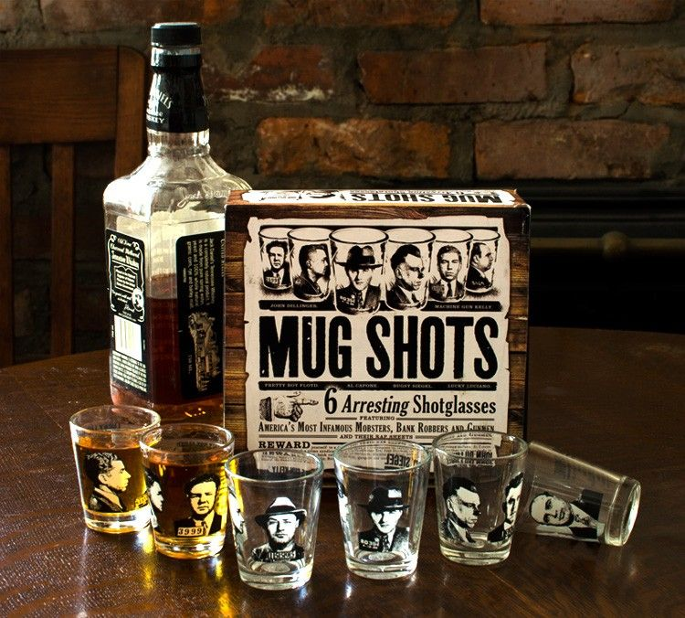 Al Capone, John Dillinger, Bugsy Siegel, Lucky Luciano, Machine Gun Kelly, and Pretty Boy Floyd. Take a shot with six of the most famous gangsters ... $19.99 at AlwaysFits.com #mugs #gangster #shots