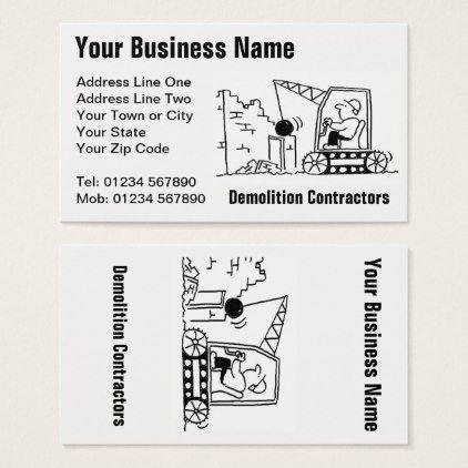Demolition contractors cartoon business card construction pinterest demolition contractors cartoon business card construction business diy customize personalize colourmoves