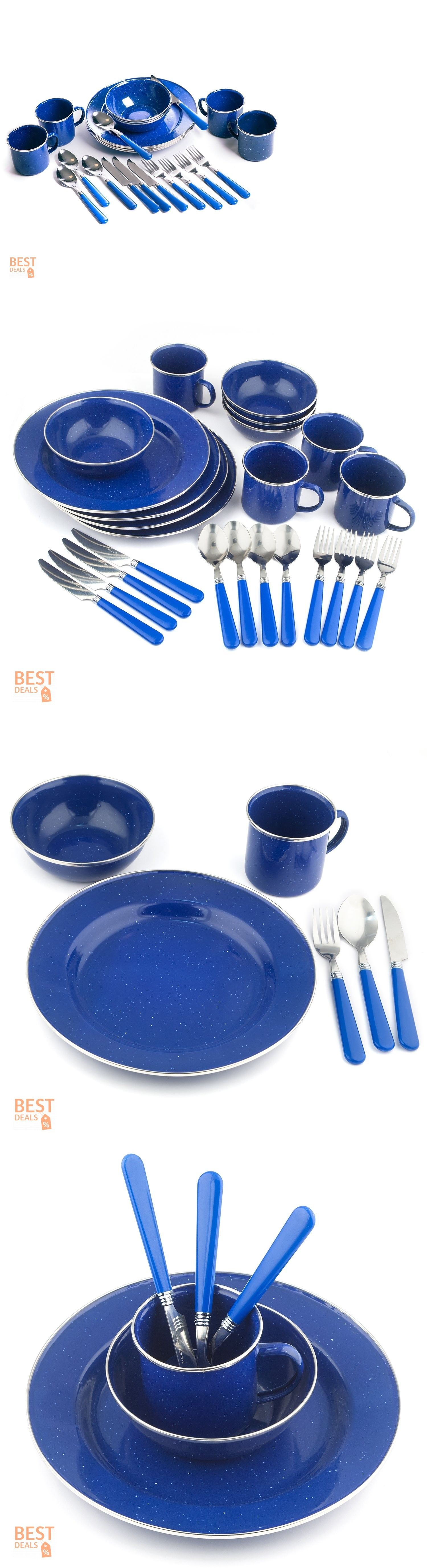 Outdoor Tableware 181383 Picnic Dinnerware Camping Cutlery Set Travel Dish Stainless Steel Enamel Combo