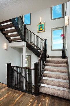 The Derelict   Contemporary   Open Staircase   Calgary   Prominent Homes  Ltd Contemporary Stair Railing With Square Accents.