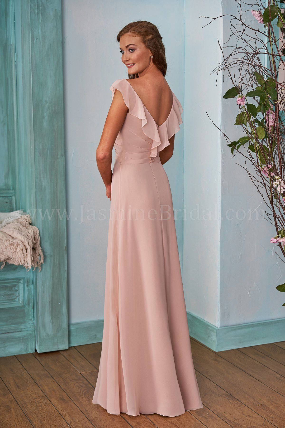 B203002 Long V-neck Poly Chiffon Bridesmaid Dress with Ruching ...