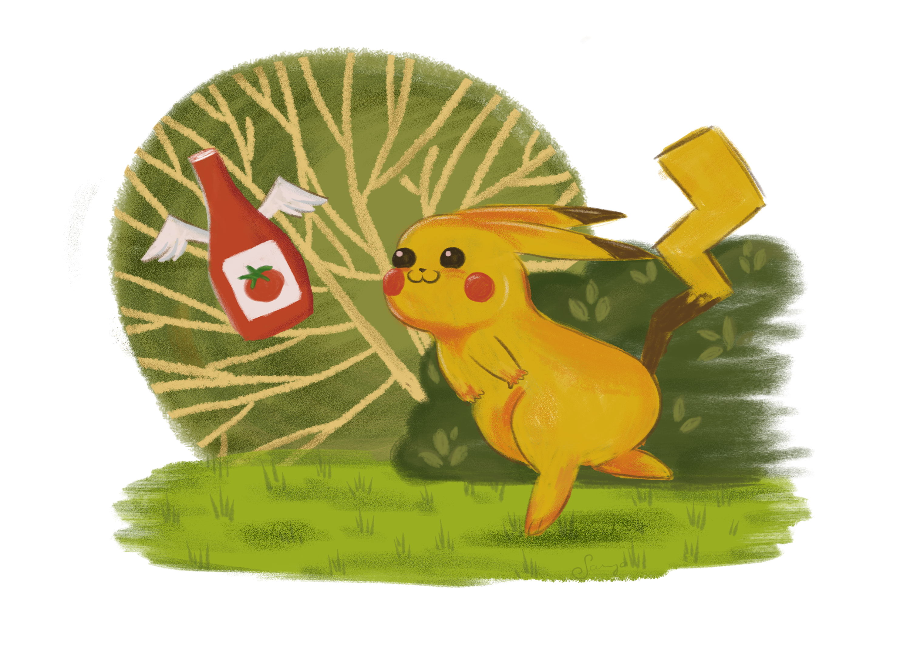 Pikachu and his favorite snack [OC] Favorite snack