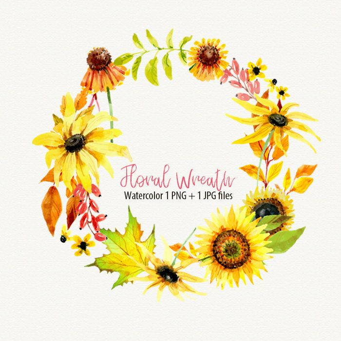 Watercolor Floral Wreath Watercolor Sunflower Clipart By Digippp
