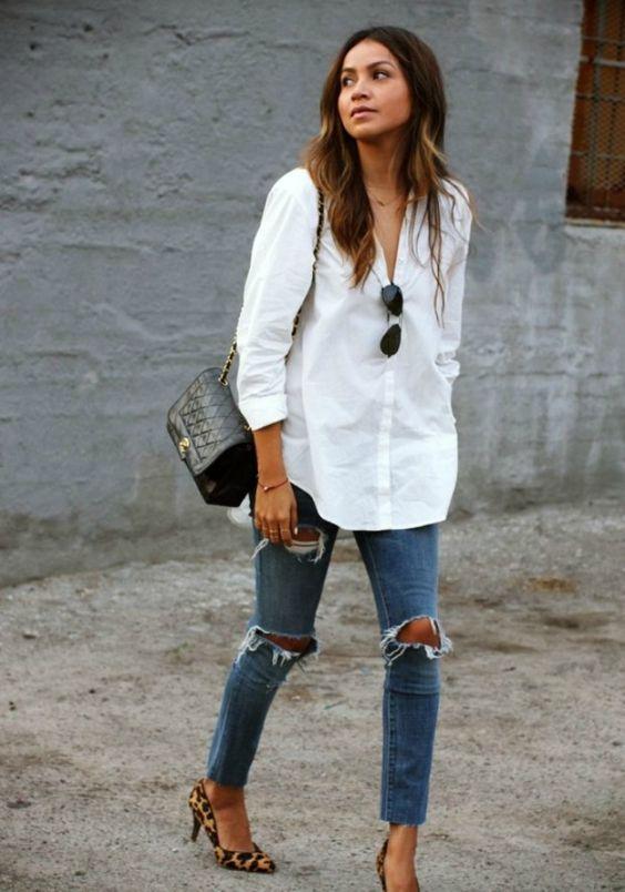 62a7bed9d Inspiração: camisa branca | Pinterest | Guarda roupa feminino, Camisa  branca e Roupas femininas