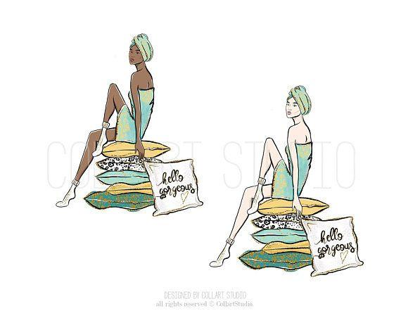 Wellness clipart  Spa clipart, wellness illustration, relax time clipart, girls ...