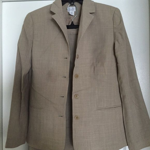 Suit jacket and matching pants Neutral color ann Taylor loft suit- size 4 jacket and size 4petite pants. Wide leg pant. Tiny little spots on jacket, will likely come out and you can barely see them to begin with. LOFT Other