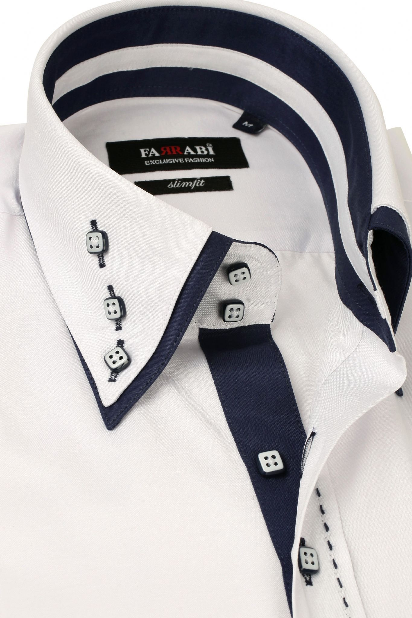 Mens Double Collar White Dress Shirt Farrabi Slim Fit Exclusive