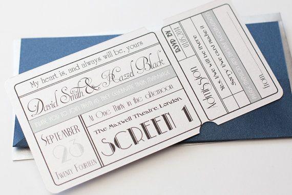 cinema movie ticket wedding invitation with wallet navy silver in