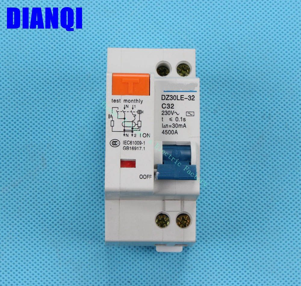Dpnl Dz30le 32 1p N 32a 230v 50hz 60hz Residual Current Circuit Breaker With Over Current And Leakage Protection Rcbo Circuit Breakers 2pcs