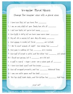 Ms. Lane\'s SLP Materials: Grammar: Irregular Plural Nouns | Speech ...