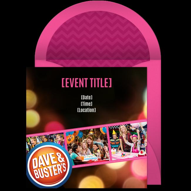 Free Dave Buster S Birthday Girl Invitations Dave And Busters Party Dave Busters Birthday Party Invitations Free