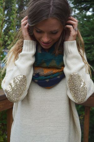 Cozy sweaters and sequined elbows #fall #style