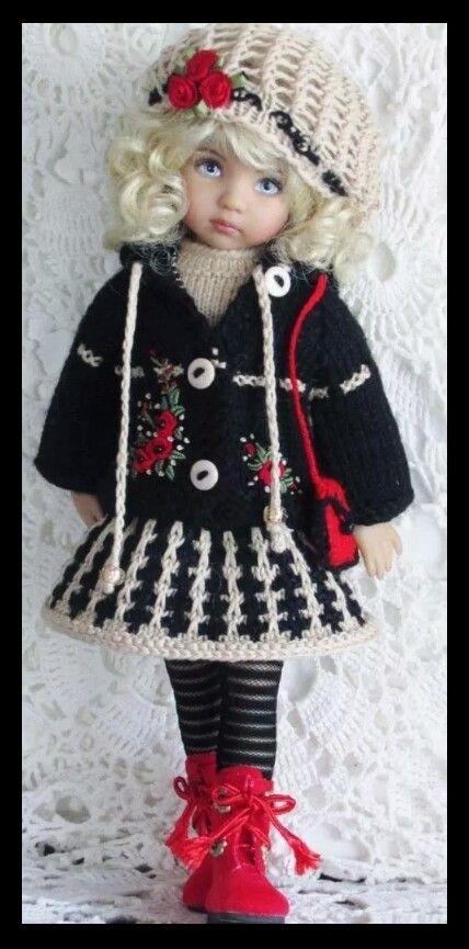 Handknit set made for Effner little darling dolls