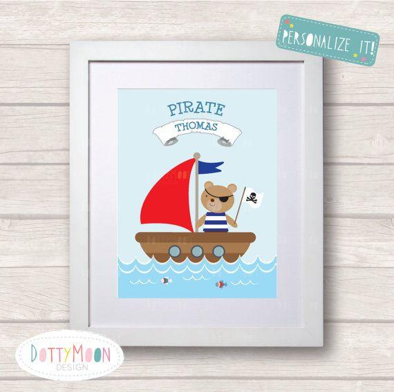 Pirate ship Childrens / Art Nursery Print  Wall von DottyMoonDesign