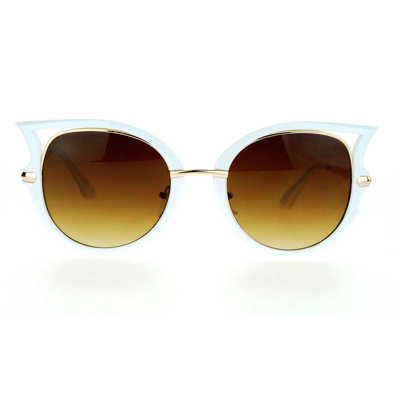 b7ce036bc4 Womens Retro Unique Bat Shape Horn Rim Round Oval Sunglasses - White Gold -  CC1260I0KPH - Women s Sunglasses