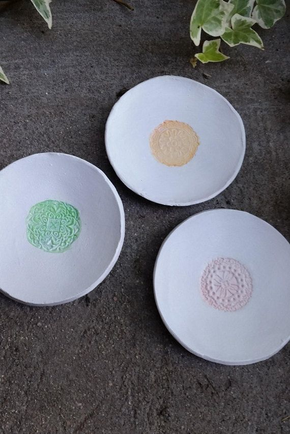 Elegant white ring dishes with a colored center. Great for any home decor and make wonderful bridesmaids gifts!  BoHo / Victorian stamped handmade clay ring dishes. Great gift for her