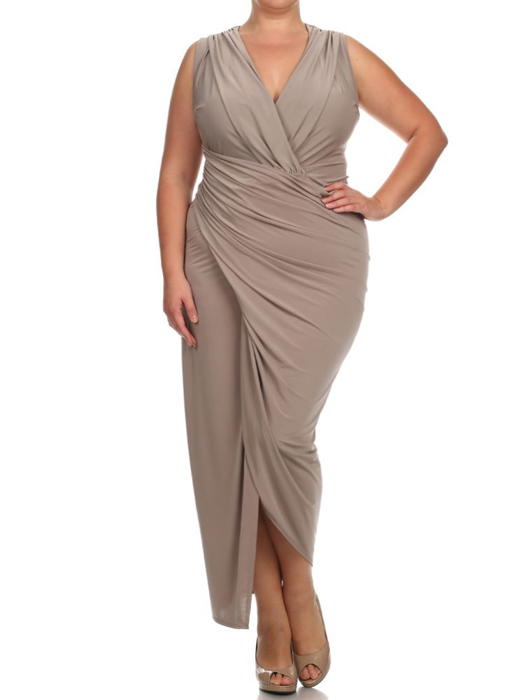 Plus Size Night To Remember Taupe Maxi Dress Plus Size Clothing